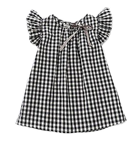 Little Girls Summer Princess Dress Plaids Checks Bowknot Dresses (2-3Y, Balck+White)