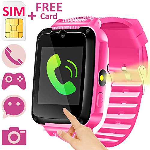 Fm Watch Cell Phone - Kids Smart Watch Phone with FREE SIM Card for Boys Girls, Duperym Children Smartwatch Cellphone Camera Game Soprt Wrist Watch Bracelet for Summer Outdoor Learning Toy Birthday Gift, Pink