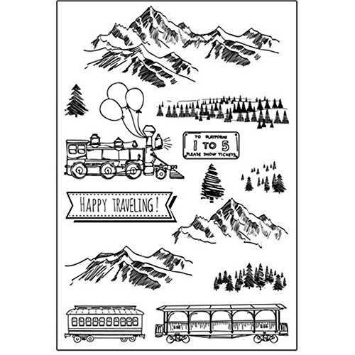 Happy Traveling Landscape Pinetree Mountains Train Forest Scrapbook DIY Photo Cards Rubber Stamp Clear Stamps Transparent (Card Rubber Stamp)
