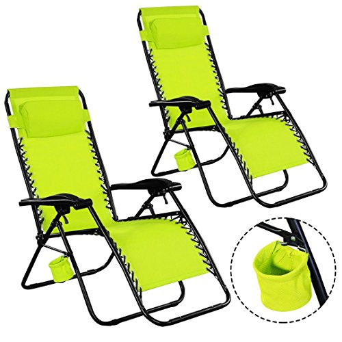 New2PC Zero Gravity Chairs Lounge Patio Backyard Folding Recliner Indoor Outdoor Green W/Cup Holder - Outlet Essex Designer