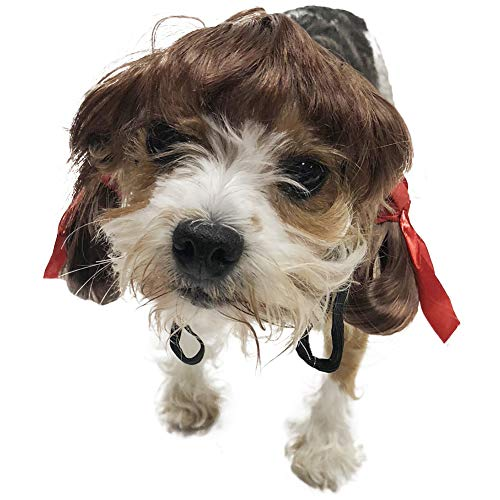 Midlee Dog Costume Wigs (Brown Pigtails) -