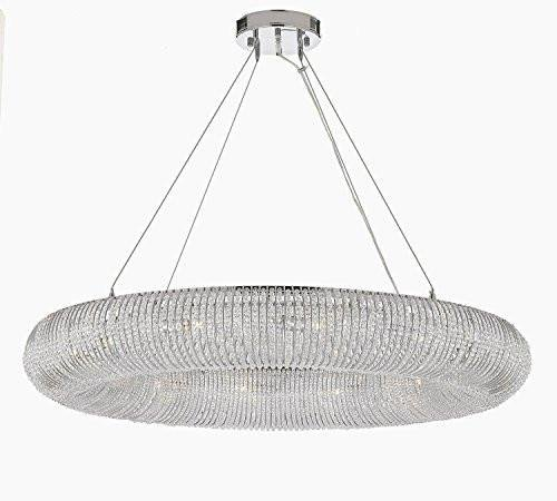 """Crystal Halo Chandelier Modern/Contemporary Lighting Floating Orb Chandelier 60"""" Wide – Good for Dining Room, Foyer, Entryway, Family Room and More!"""