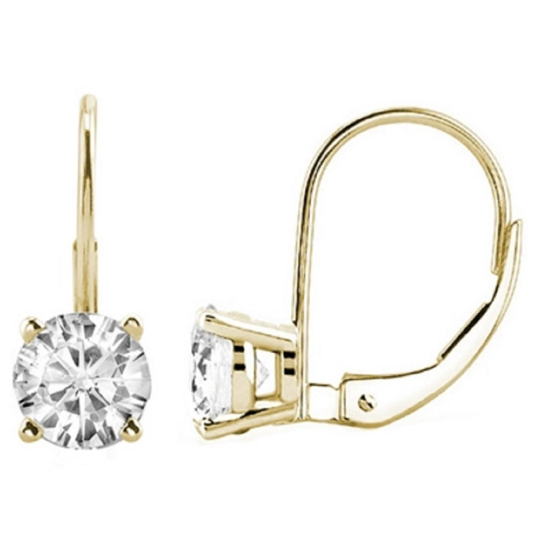0.30 CTW Round White Diamond Leverback Earrings in 14K Yellow Gold