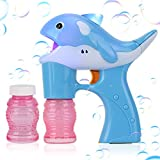 Liberty Imports Blue Dolphin Light Up Whale Bubble Gun Blower - 2 Bottles of Solution (NO Music)