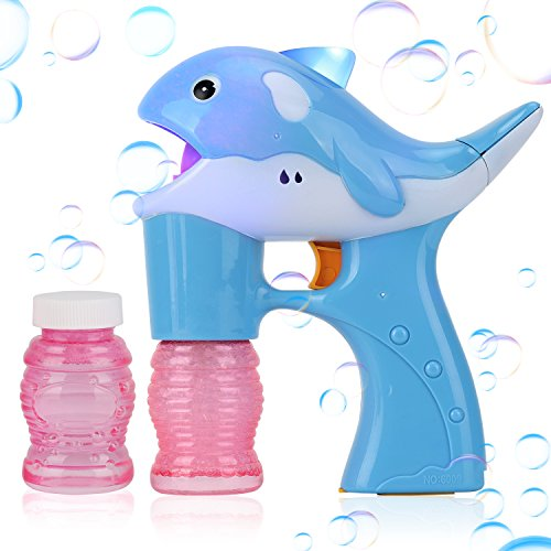Liberty Imports Blue Dolphin Light Up Whale Bubble Gun Blower for Kids - Includes 2 Bottles of Solution (NO Music) ()