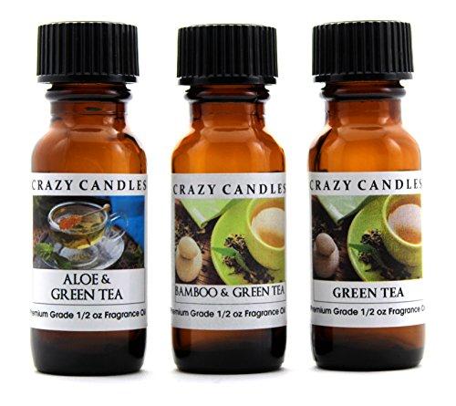 Green Crazy (Crazy Candles 3 Bottles Set, 1 Aloe & Green Tea, 1 Bamboo & Green Tea, 1 Green Tea 1/2 Fl Oz Each (15ml) Premium Grade Scented Fragrance Oils By)
