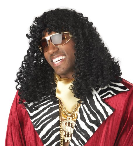 California Costumes Men's Supa' Freakin Wig,Black,One Size (Fancy Dress 80s Style)