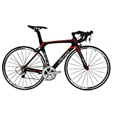 BEIOU 2016 700C Road Shimano 105 Bike 5800 11S Racing Bicycle T800-M40 Carbon Fiber Aero Frame Ultra-light 18.3lbs CB013A-2 (Matte Black&Red, 520mm)