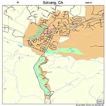 Amazon Com Large Street Road Map Of Solvang California Ca