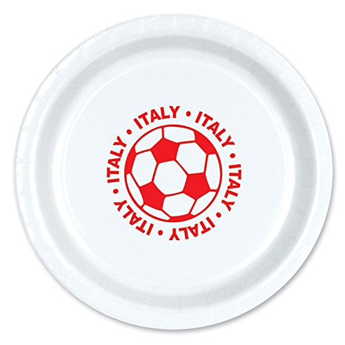 Club Pack of 96 Red and White''Italy'' Soccer Ball Paper Party Dinner Plates 9'' by Party Central
