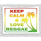 Rasta Tapestry by Ambesonne, Keep Calm and Love Reggae Quote in Ombre Rainbow Colors Music Themed, Wall Hanging for Bedroom Living Room Dorm, 80 W X 60 L Inches, Light Green Red and Yellow