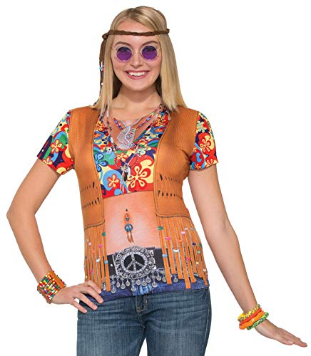 Forum Women's Hippie Lady Printed Shirt Adult Costume, Multi Colored, X-Large