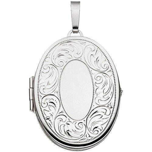 Pendentif médaillon en argent sterling 925 partiellement dépoli ovalförmig à ouvrir
