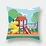 Custom Satin Pillowcase Protector Group Of Kids Playing Game On A Town Public Park Playground With Swings, Slides, Tube And House. Happy Childhood. Modern Flat Style Vector Illustration Cartoon