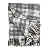 Bedsure Wool Blanket, Grey Plaid - Super Soft, Warm & Fuzzy Twin Blanket 60x80 inches for Couch, Sofa, Bed - Outdoor Twin Blankets for Camping, Beach, Backpacking or Emergency Supplies