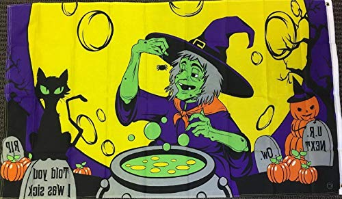Kaputar 3x5 Witches Cauldron Brew Halloween Flag Black Cat Full Moon Spooky Banner | Model FLG - 7013]()
