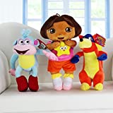 3pcs/set Dora The Explorer Dora Monkey Boots Swiper Fox Plush Doll Toy Stuffed Animal Teddy