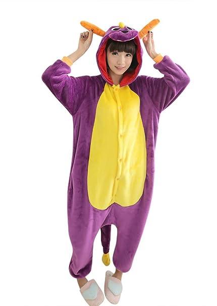 UDreamTime Fiesta de disfraces de Halloween Pijamas Kigurumi Cosplay Pijamas Purple Dragon M