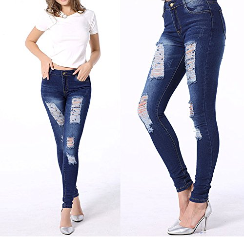 Pantaloni Larghi In Ginocchio Scuro Denim Alta Leggings Strappati Vita Skinny Blu Jeans A Donna wzx8fgvq0n
