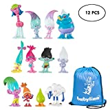 Trolls Dolls, Babylian Set of 12pcs Trolls Dolls, 3-6cm Tall Movie Trolls Action Figures Cake Toppers, Come with Storage Bag