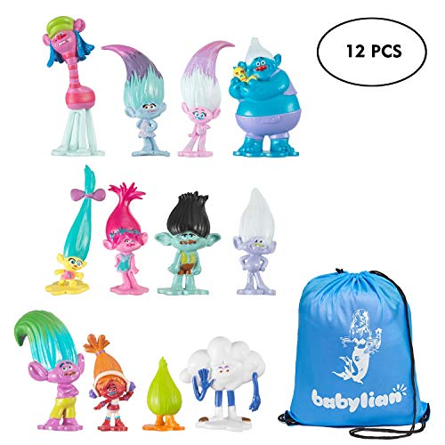 Trolls Dolls, Babylian Set of 12pcs Trolls Dolls, 3-6cm Tall Movie Trolls Action Figures Cake Toppers, Come with Storage Bag by babylian
