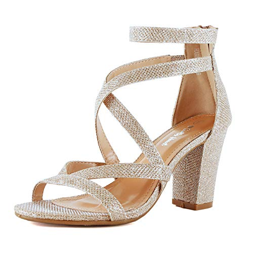 Womens Comfortable Strappy Chunky Block Ankle Strap Open Toe Heeled Sandals (10 M US, Gold Glitter) (Gold Glitter Sandal)