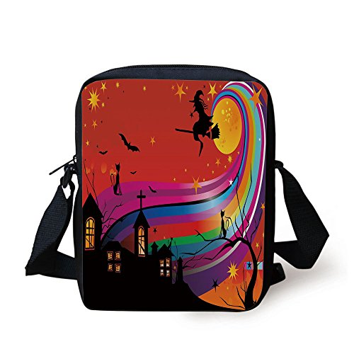 (IPrint Halloween,Witch Woman on Broomstick Bats Cat Stars Rainbow Moon Castle Abstract Colorful Decorative,Multicolor Print Kids Crossbody Messenger Bag Purse)