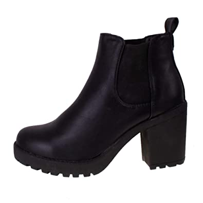 39fb3d9e589 Ladies Black Leather Look Mid Cleated Platform Heel Chelsea Ankle Boots  Black 4  Amazon.co.uk  Shoes   Bags