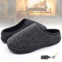 YOUKADA House Slippers for Men Memory Foam, Yarn Knitted Upper Sandal Breathable, Anti-Slip Boys Shoes Indoor Outdoor, Male Plush Slippers with Hard Sole