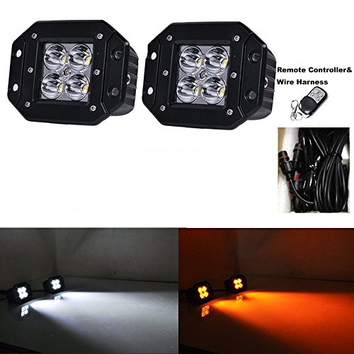 Night Break Light 24W Flush Mount Spot LED Pods/Cubes White Amber Color Changing Led Work Light Spotlight SUV Off Road Headlight Pods Driving Fog Light With Wiring Harness(Pack of 2) ()