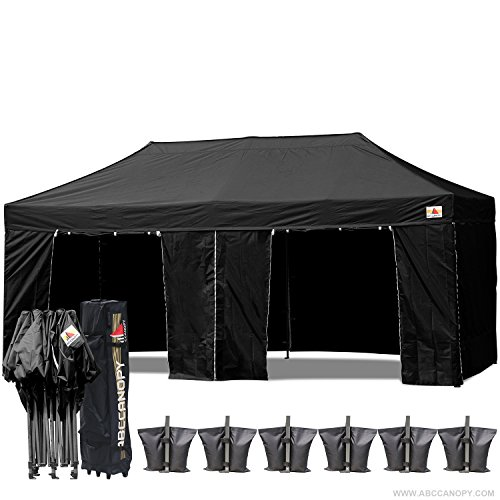 (18+ colors)Abccanopy Deluxe 10x20 Pop up Canopy Outdoor Party Tent Commercial Gazebo with Enclosure Walls and Wheeled Carry Bag Bonus 6x Weight Bag and 2x Half Walls 1x Screen Wall (Black)