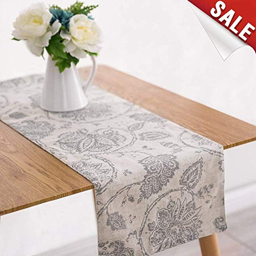 jinchan Table Cloth Linen Textured Scroll Patten Triangular Decorative Burlap Tablecovers Rustic Floral Design Handcrafted Flax Tablecloths(1 Panel 13 W x 72 L Grey)