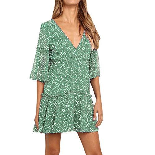 (Women's Summer V-Neck Floral Print Ruffle Swing A Line Beach Cocktail Wedding Party Mini Dress Green)
