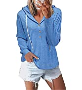 OUGES Women's Casual Long Sleeve Hoodies V Neck Hooded Sweatshirt Lightweight Pullovers Tops
