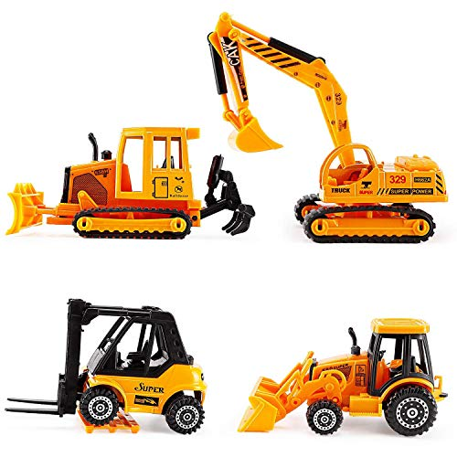 Liberty Imports Set of 4 Construction Vehicles Diecast Metal Toy Playset [5 Inch] - Forklift, Bulldozer, Excavator, Tractor