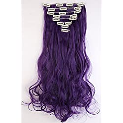 """S-noilite 24 Inches Long Curly Full Head Clip in Synthetic Hair Extensions 8pcs 170g (24""""-Curly, Black Purple)"""