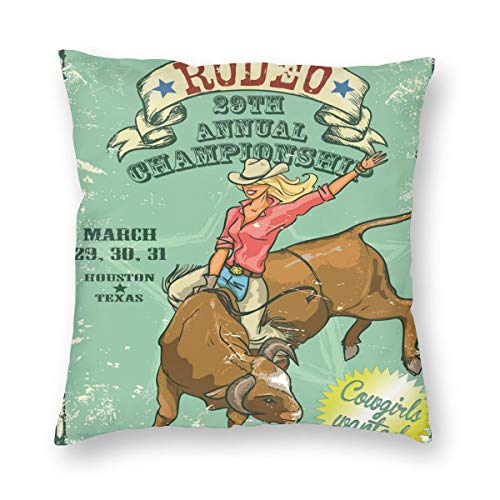 K0k2to Retro Throw Pillow Cushion Cover,Rodeo Cowgirl On The Bull Annual Championship Vintage Poster Pattern Grunge Design,Decorative Square Accent Pillow Case