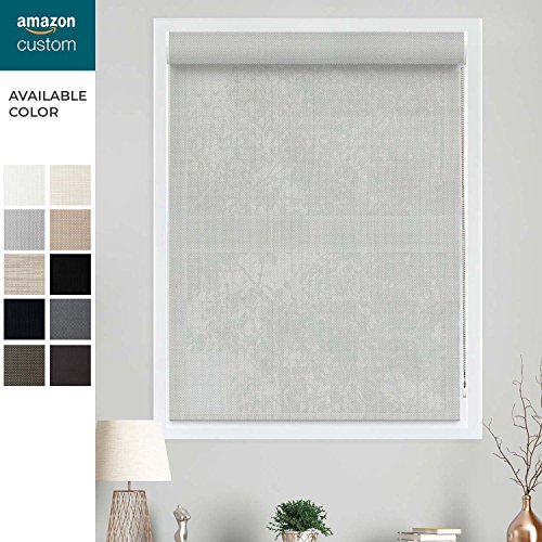 CHICOLOGY Custom-Made Corded Roller Shade,Valance,Inside Mount Right Chain,Gaza Misty (5% Solar) 23.5''W X 48''H by CHICOLOGY