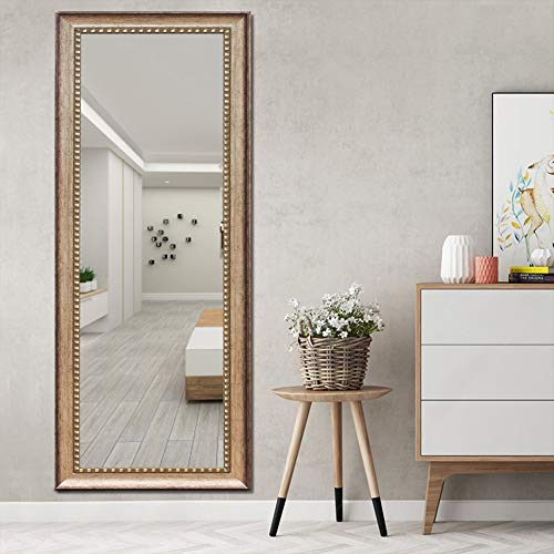 ElevensMirror Full Length Mirror Dressing Mirror Large Floor Mirror Wall-Mounted Mirror, High Polymer Material Frame, Hanging Leaning Against Wall (63