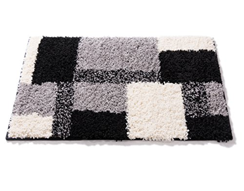 (Modern Shag Geometric 2x3 (2' x 3') Area Rug Cubes Black & Cream Plush Shag Blocks & Squares Plush Shag Easy Care Thick Soft Plush Living Room)