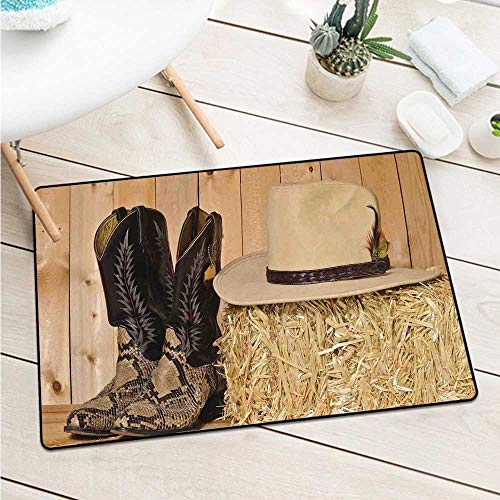 Custom&blanket Western Decor Universal Door Mat Snake Skin Cowboy Boots Timber Planks in Barn with Hay Old West Austin Texas Machine Washable Door Mat (W19.7 X L31.5 inch,Cream Brown)