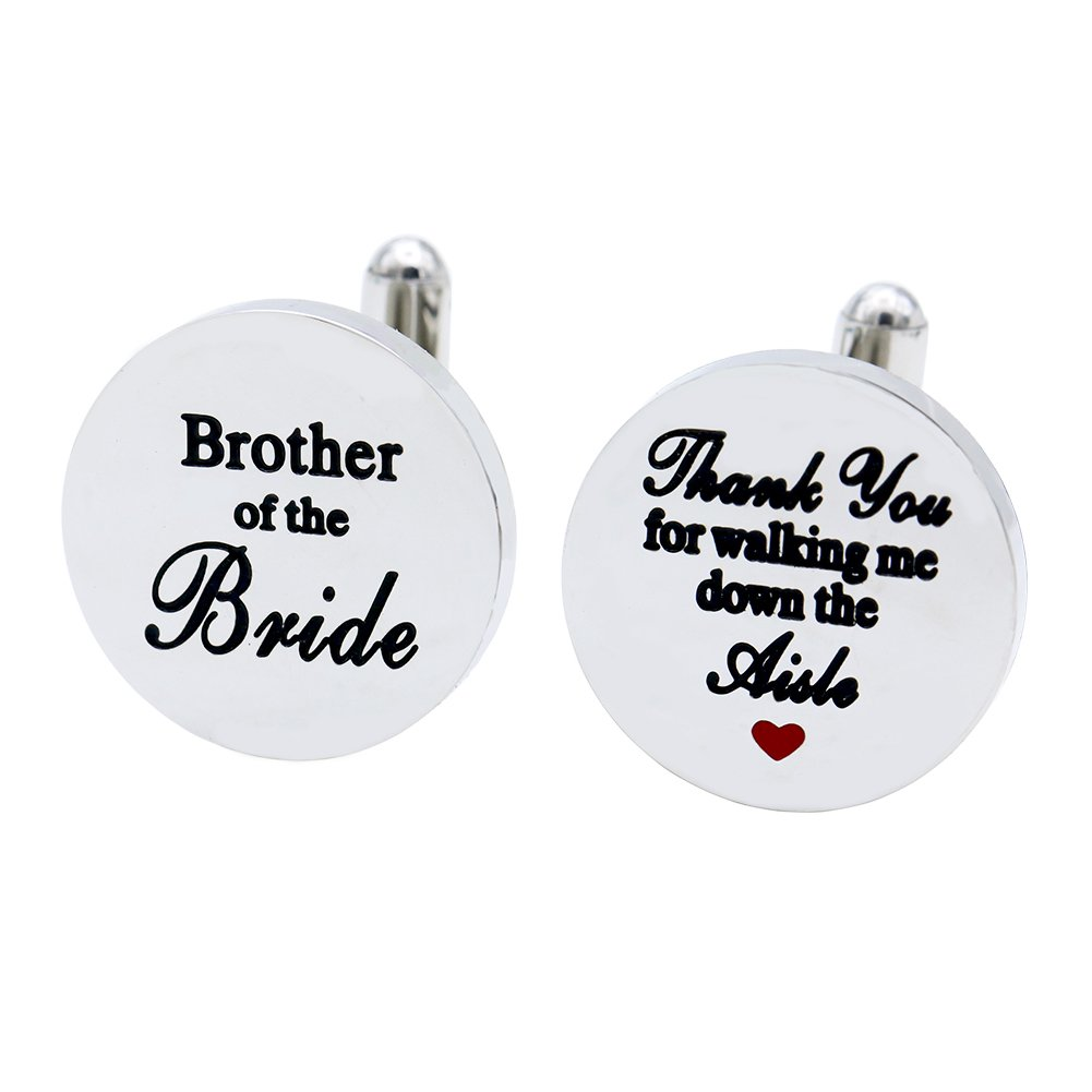 Melix Home Brother of the Bride stainless-steel Cuff Links,Thank You for Walking Me Down the Aisle Cuff Links, Brothe Wedding Partyr Gifts (Grey)