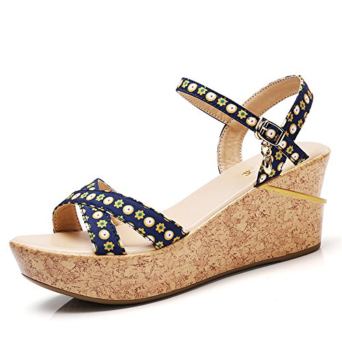 Azul de Romanas Impermeable de Femeninas Azul Sandalias Ocio EU Plataforma Summer Print de Boca Pescado Cuña Tamaño Zapatos 40 Color 4EwvxqHp