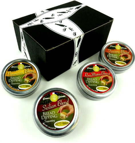 Dean Jacob's Bread Dipping Seasoning Blends 4-Flavor Variety: One 1.75 oz Tin Each of Rosa Maria Blend and Parmesan Blend, One 1.8 oz Tin of Sicilian Blend, and One 1.7 oz Tin of Tuscany Blend in a Gift Box
