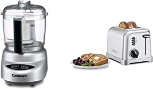 Cuisinart DLC-2ABC Mini Prep Plus Food Processor Brushed Chrome and Nickel & Metal Classic 2-Slice toaster, Brushed Stainless