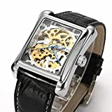 ALPS Men's Luxury Skeleton Hand Wind Rectangle Dial Automatic watch With Black Leather Band