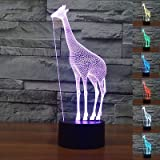 Cheap 3D Giraffe Lamp Night Light Touch Table Desk Optical Illusion Lamps 7 Color Changing Lights Home Decoration Xmas Birthday Gift