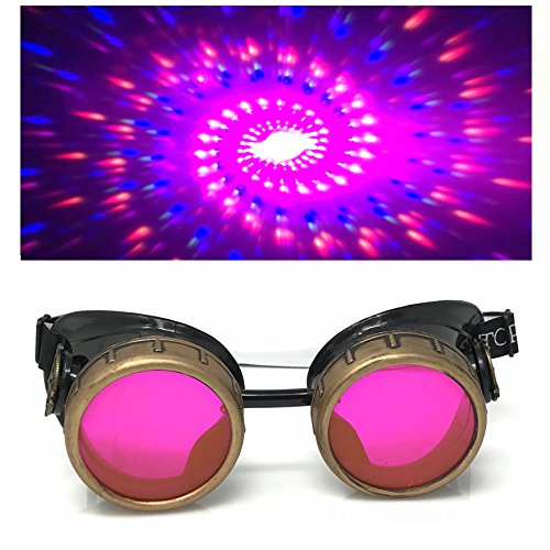 Steampunk Victorian Style Goggles with Neon Pink