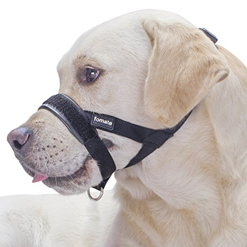 Dog Muzzle, Quickly fit gentle head collar walk training loop stop pulling halter, Black Large