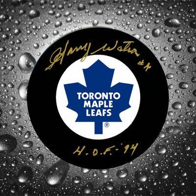 Gold Autographed Puck (Harry Watson Toronto Maple Leafs HOF GOLD Autographed Puck)